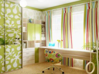 Шкаф-Купе в Детскую с Фотопечать в зеленом цвете
